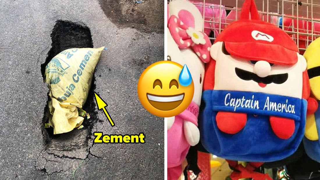 """Eine Tüte Zement, die in ein Loch in der Straße gequetscht wurde. Text: Zement. Daneben ein Super Mario Rucksack, auf dem """"Captain America"""" steht. In der Mitte ein lächelndes Emoji, dem ein Schweißtropfen runterläuft."""