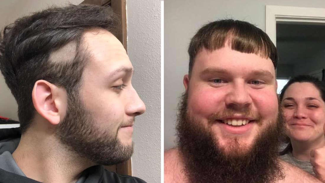 Ein Bild von einem Mann, der seine Haare zeigt. Es ist eine große Lücke in den Haaren zu sehen, die er selbst geschnitten hat. Daneben ein Mann, der einen sehr schlecht geschnitten Pony hat und eine Frau, die einen Daumen nach oben zeigt.