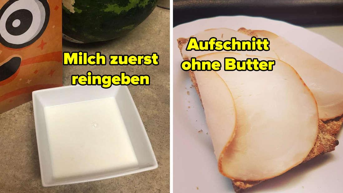 Eine Schüssel, in der Milch drin ist. Daneben steht eine Cornflakes-Packung. Text: Milch zuerst reingeben. Rechts daneben ein Bild von einem Brot, auf dem Wurst liegt. Text: Aufschnitt ohne Butter.
