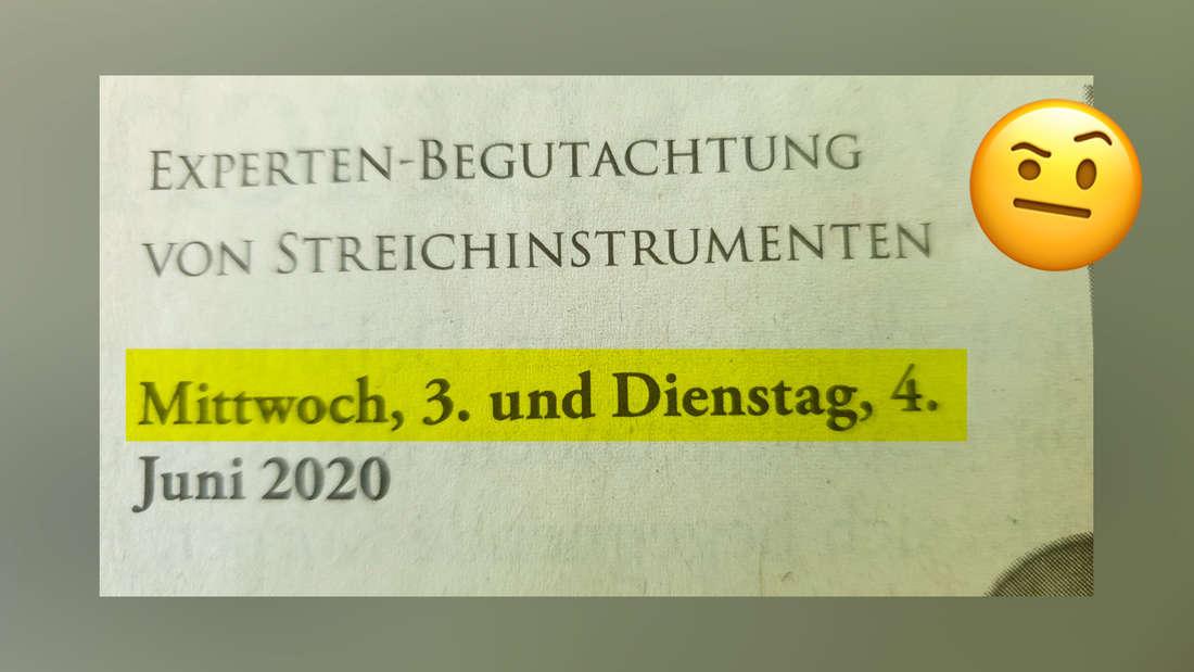 """Eine Anzeige in der Zeitung, in der steht """"Experten-Begutachtung von Streichinstrumenten. Mittwoch, 3. und Dienstag, 4. Juni 2020."""""""