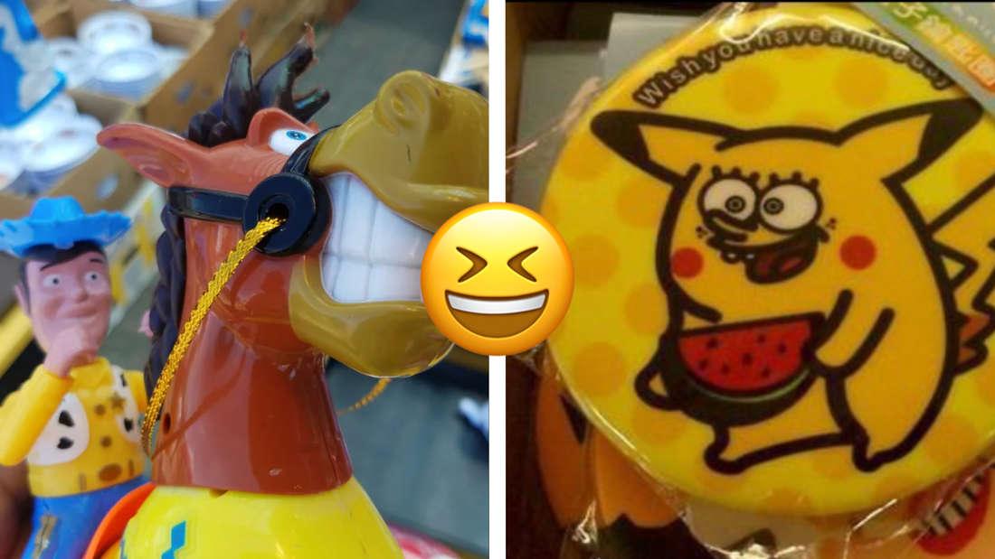 Woody und sein Pferd von Toy Story, aber in falschen Farben und generell etwas schlecht designed. Daneben ein Schwamm, auf dem jemand das Gesicht von Spongebob auf den Körper von Spongebob gephotoshoppt hat. In der Mitte ein Emoji, das lacht und die Augen zukneift.