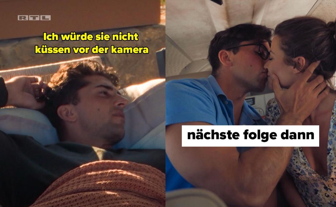 Julian kündigt an, die Bachelorette nicht vor der Kamera küssen zu wollen. In der Vorschau von Folge 1 ist jedoch zu sehen, wie die zwei in einem Helikopter rumknutschen.