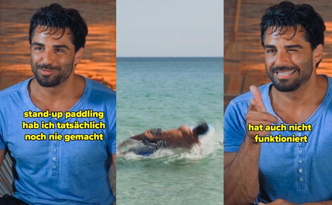 Kenan sagt, der Kamera, er habe noch nie Stand-Up-Paddling versucht, und dass es auch nicht funktioniert habe. Dazu ein Bild, wie Kenan vom Brett ins Wasser fällt.