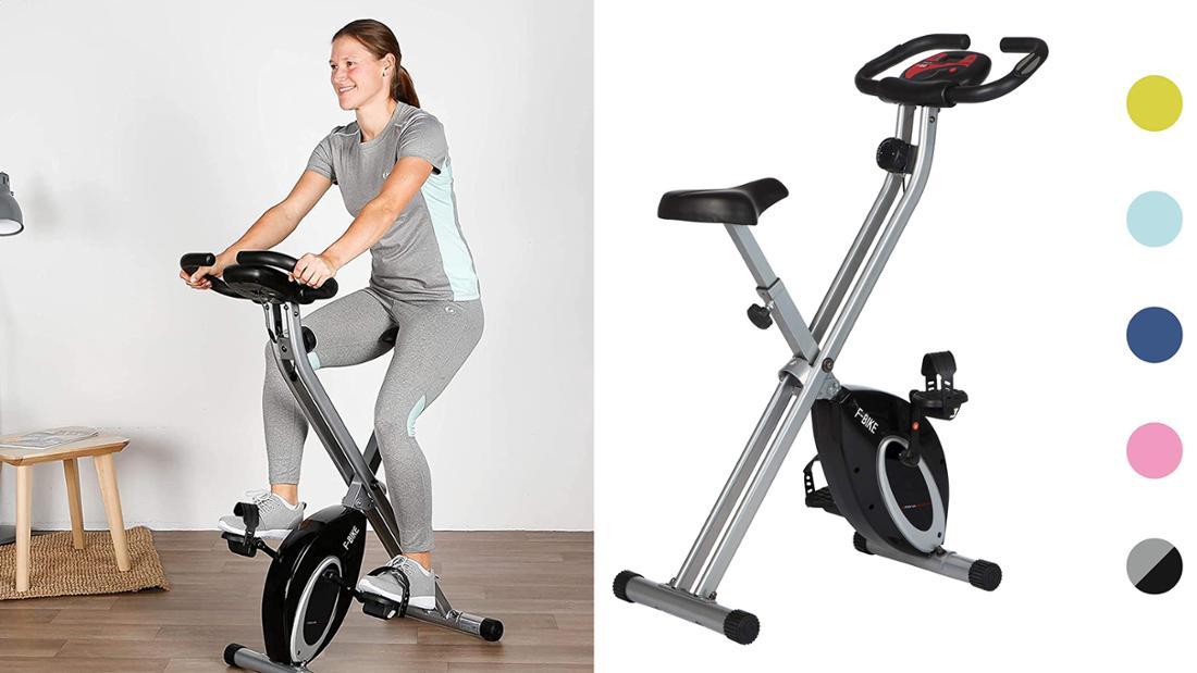 Klappbares Fahrradtrainer in verschiedenen Farben erhältlich. Abgebildet in silber mit schwarzen Details.