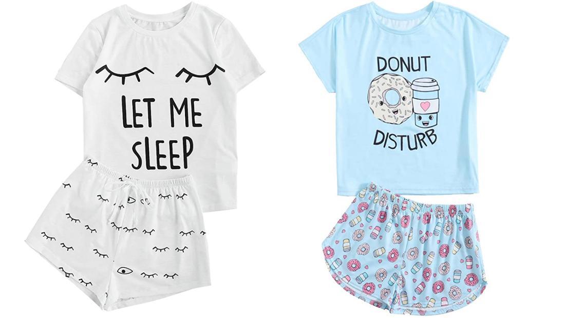"""Je ein T-Shirt mit Shirts. Einmal in weiß mit schlafenden Augen und dem Spruch: """"Let me sleep"""". Und einmal in hellblau mit Donuts darauf und dem Spruch: """"Donut Disturb"""""""