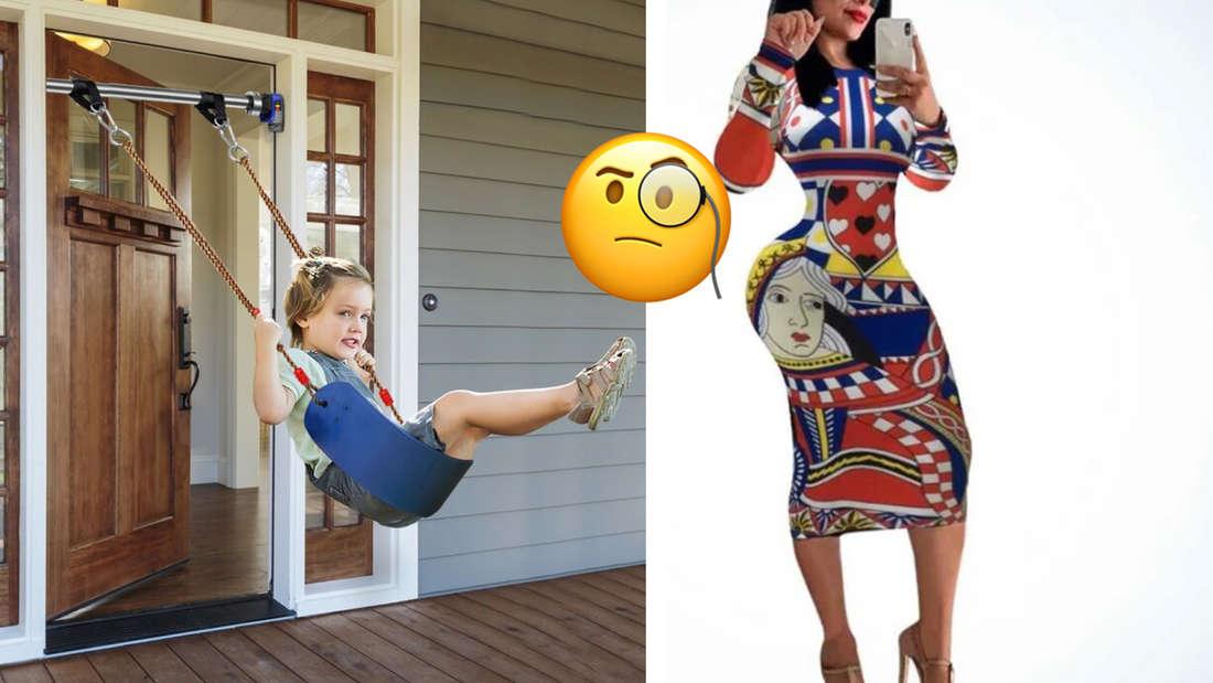 Eine schlechte Fotomontage von einem Kind, das eine Schaukel an einer Tür hat und daneben eine Frau mit einem sehr schlecht gehphotoshoppten Körper. In der Mitte ein Emoji mit einem Monokel, das verwirrt guckt.
