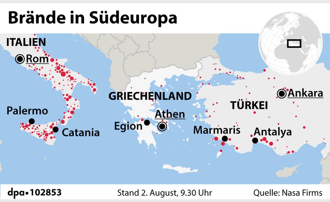 Brände in Südeuropa (02.08.2021)