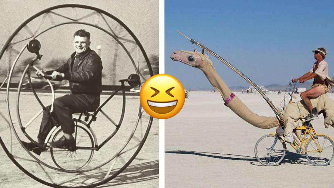 Ein Mann, der auf einem Fahrrad/Einrad sitzt, das noch ein Rad um das Fahrrad und den Mann hat. Er sieht sehr glücklich aus. Daneben ein Mann auf einem Fahrrad, das wie ein Kamel designt wurde. In der Mitte ein Emoji, das die Augen zusammenkneift und lacht.