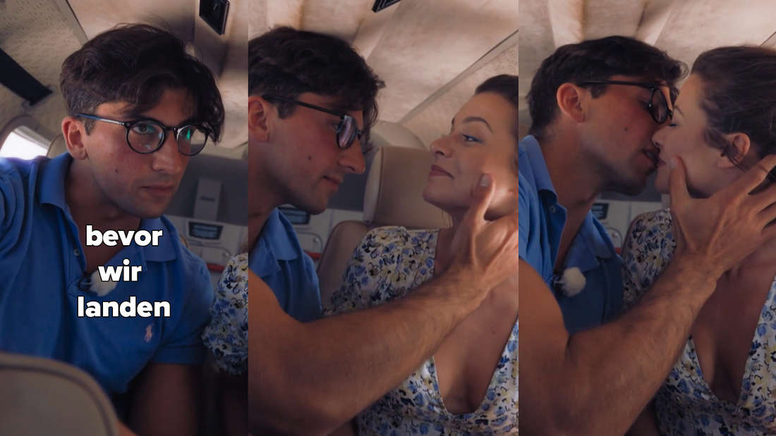 """Julian sagt """"Bevor wir landen ..."""" und packt Maxime am Hals, um sie zu küssen."""