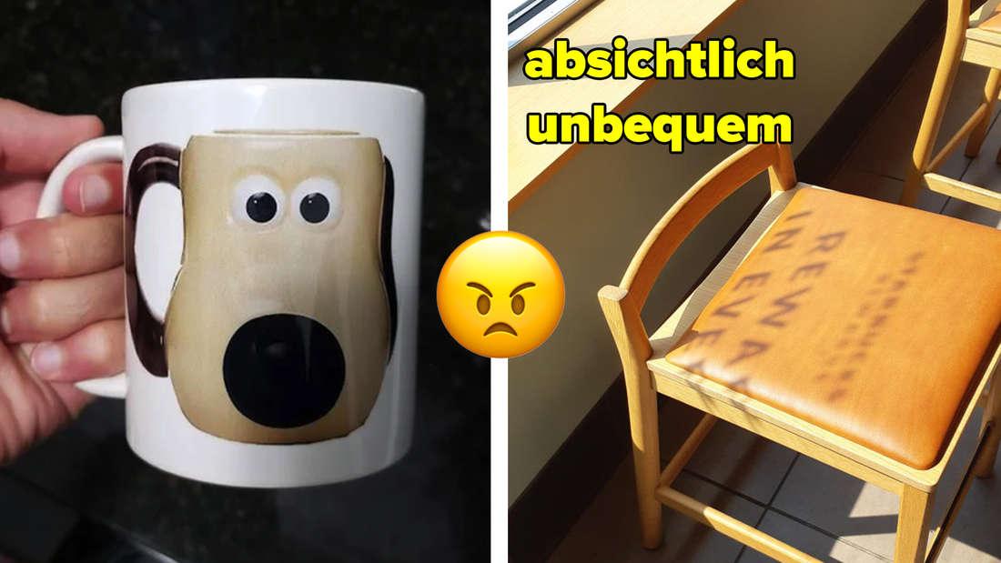 Eine Gromit-Tasse auf einer normalen weisen Tasse als Motiv abgedruckt. Ein Stuhl mit extrem verkürzter Lehne zum unbequemen Sitzen.