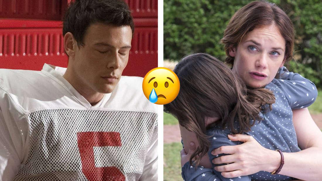 """Finn Hudson aus """"Glee"""" im Umkleideraum in Footballmontur, mit geschlossenen Augen. Alison aus """"The Affair"""" hält ein kleines Mädchen im Arm"""