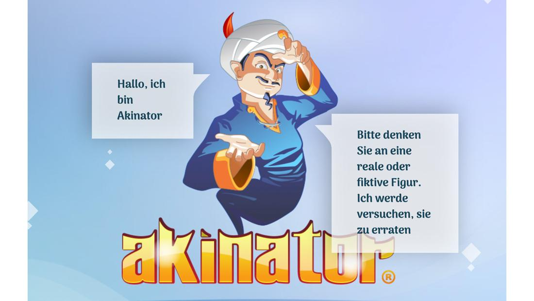 Die Startseite der Website Akinator, auf der der Akinator sagt, dass er eine Figur erraten kann, an die eine Person denkt.