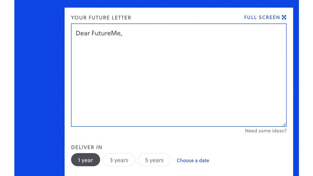Die Startseite von FutureMe, die ein Dokument offen hat, in der ein Brief an sich selbst in der Zukunft geschrieben werden kann. Der Brief kann in einem, drei, fünf oder benutzerdefinierten Jahren abgeschickt werden.