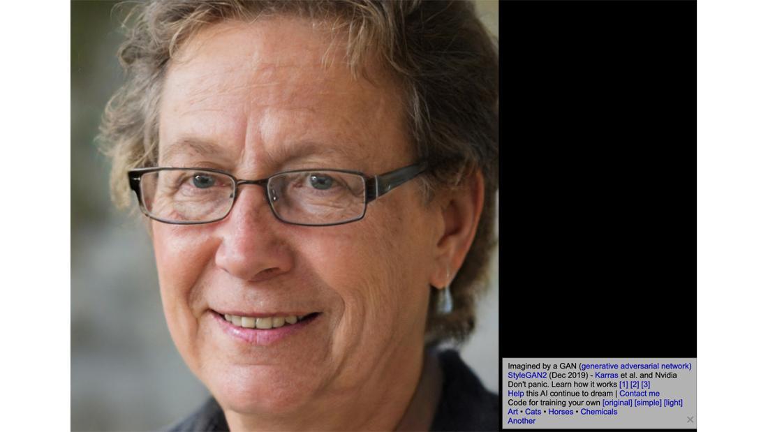 """Ein Bild eines Menschen von der Website """"This Person Does Not Exist"""". Daneben ein Hinweis, wie das Bild erstellt wurde."""