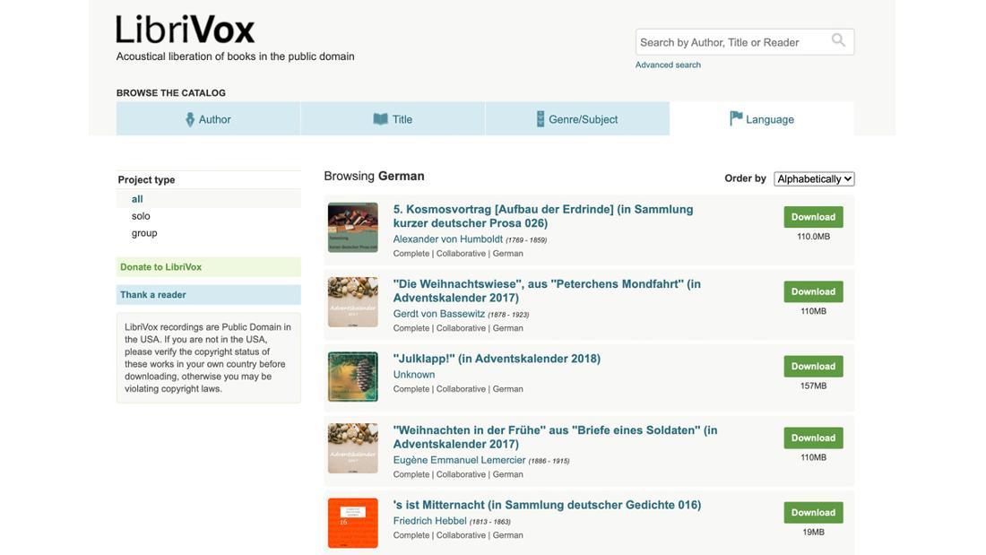 Ein Ausschnitt der Website Librivox, der eine Auswahl an deutschen Hörbüchern anzeigt.