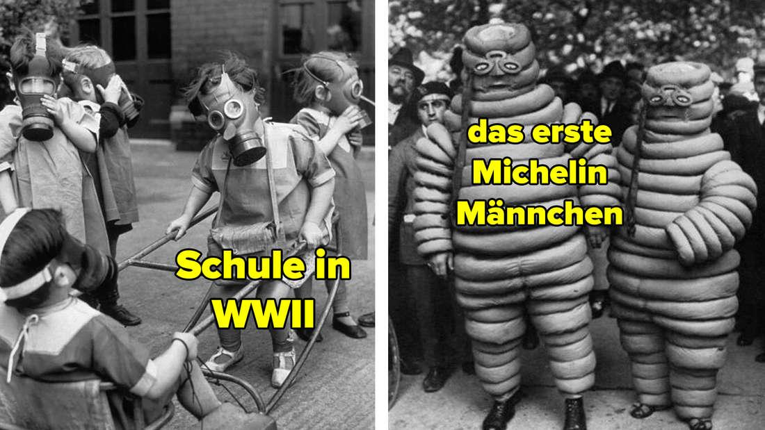Ein paar Kinder spielen während des 2. Weltkriegs auf dem Schulhof und tragen dabei Gasmasken. Zwei Michelin Männchen in der ersten Version des Maskottchenkostüms.