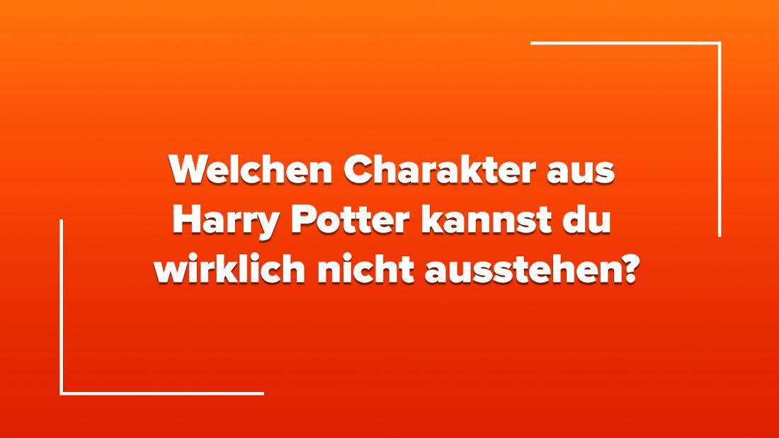 """Ein orangefarbener Farbverlauf, auf dem in weißer Schrift steht """"Welchen Charakter aus Harry Potter kannst du wirklich nicht ausstehen?"""""""