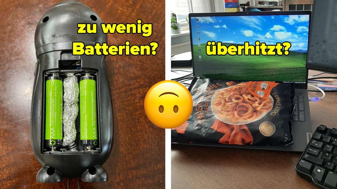 Eine Maus in die als dritte Batterie Alufolie gepackt wurde und ein Laptop, der mit einer Packung Fritten gekühlt wird.