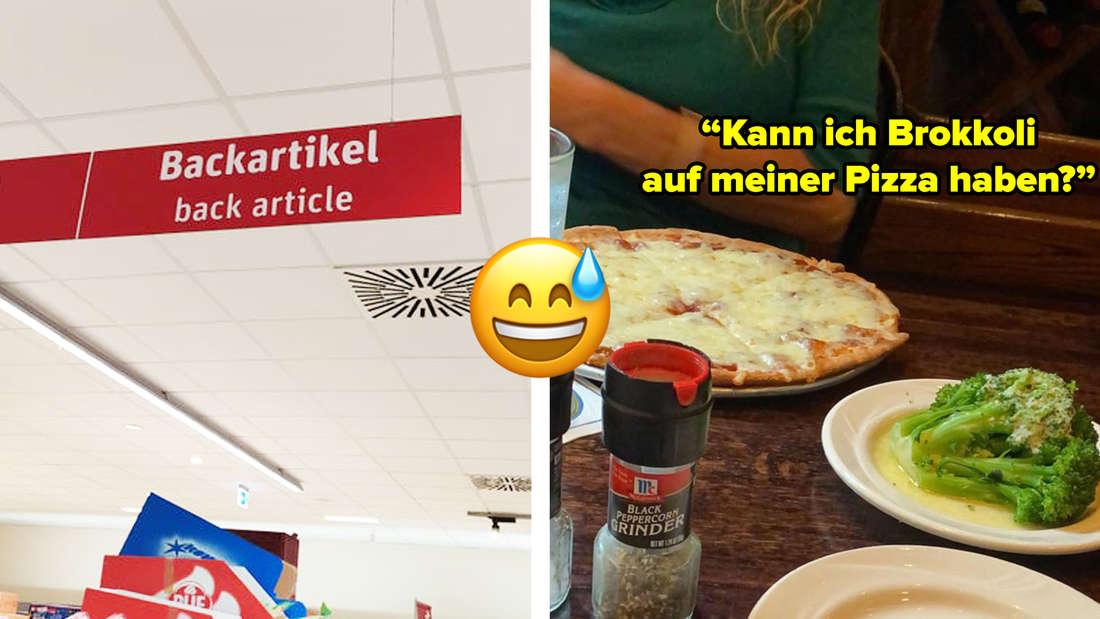 """Ein Bild von einem Schild bei Rewe, auf dem die Übersetzung für """"Backartikel"""" """"back article"""" ist. Daneben ein Bild von einer Margherita-Pizza und einem Teller mit Brokkoli. Text: """"Kann ich Brokkoli auf meiner Pizza haben?"""""""