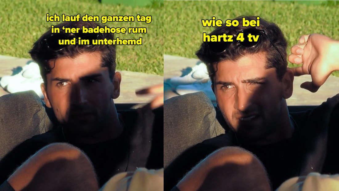 Julian sagt, er laufe den ganzen Tag in Badehose und Unterhemd rum. Wie bei Hartz 4 TV.