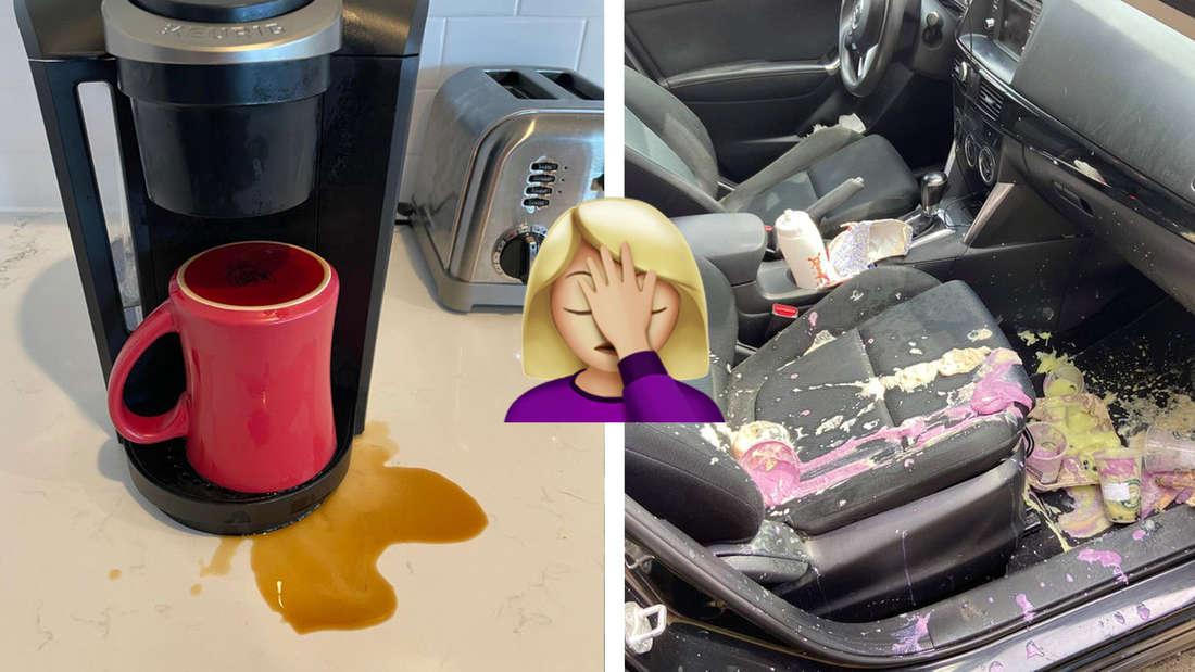 Eine Kaffeetasse, die falsch herum in eine Kaffeemaschine gestellt wurde und bei der Kaffee oben drüber und auf die Theke gelaufen ist. Daneben ein Auto, in dem Bubble Teas ausgekippt sind. In der Mitte ein Emoji, dass sich die Hand vor die Stirn schlägt.
