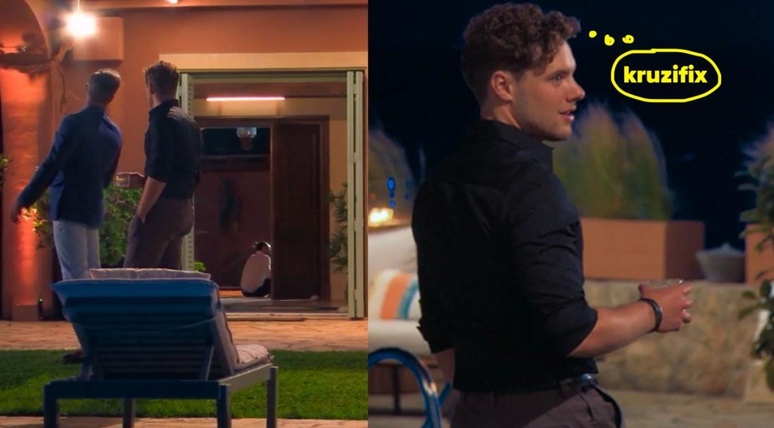 Max und Raphael laufen am Eingang vorbei und sehen dadurch, dass Zico und Maxime sich küssen.