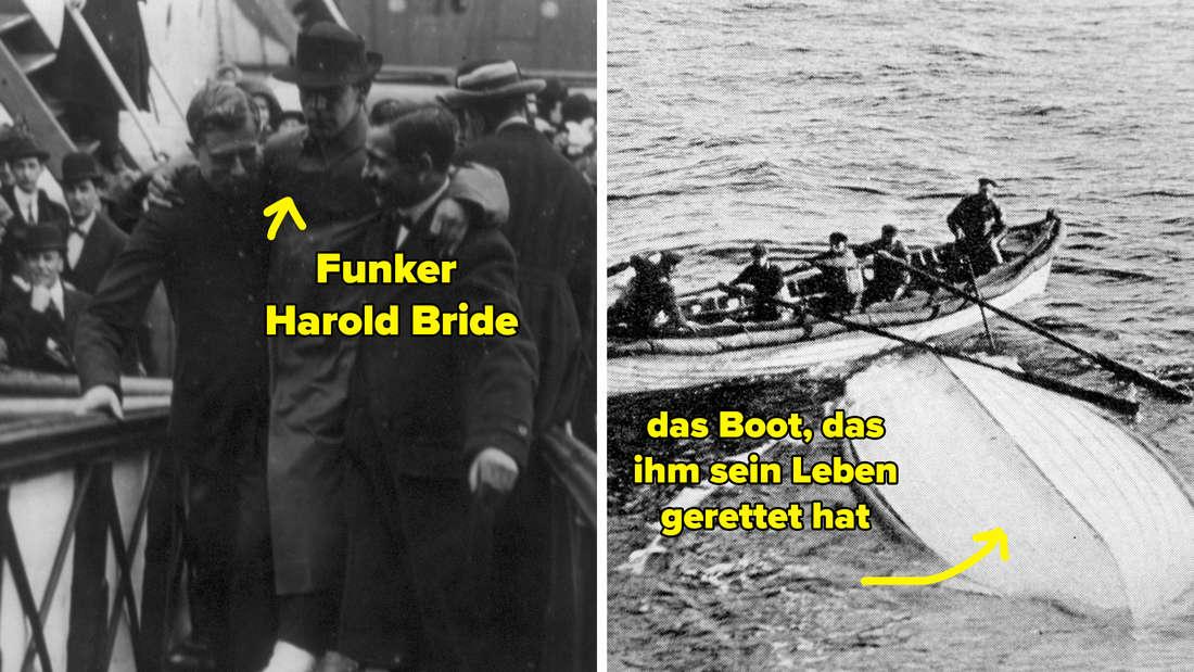 Zwei Bilder: Harold Bride, der seine arme um die Schultern der zwei Männern gelegt hat, die ihn die Gangway hochtragen, und ein Rettungsboot, das kieloben im Wasser treibt.