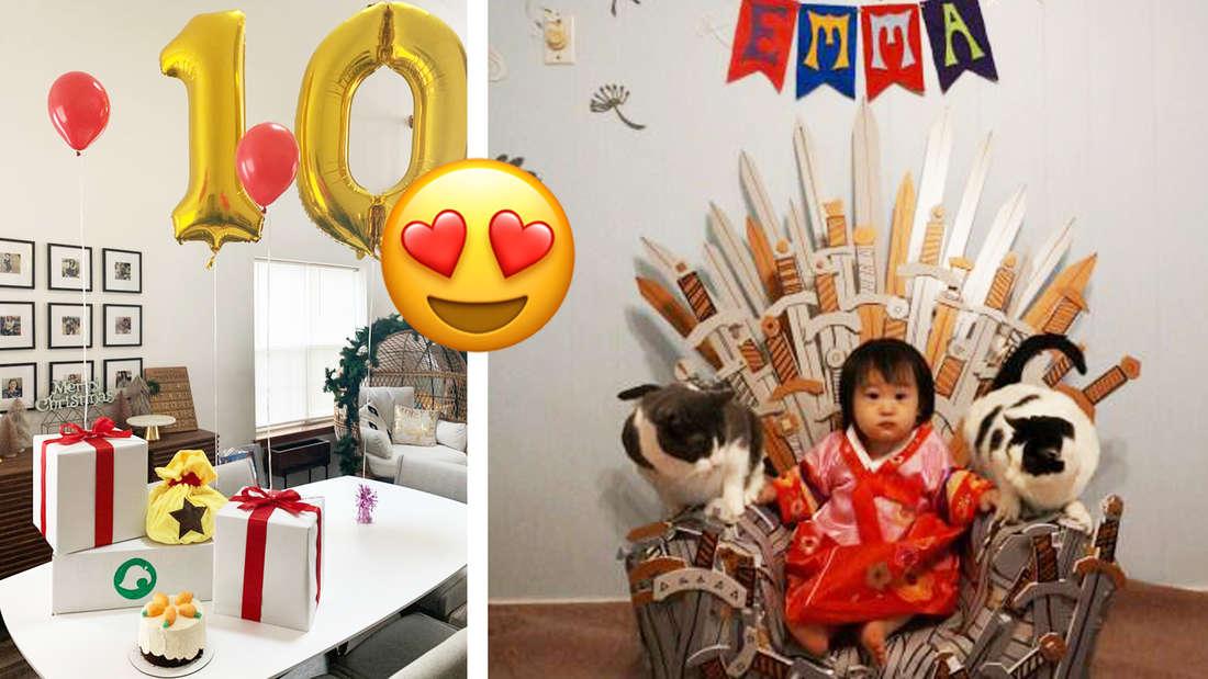 Geburtstagsdekoration mit Ballons und Geschenken, die aussehen wie bei Animal Crossing. Daneben ein Kind, das auf einem Thron sitzt, der aussieht wie der von Game of Thrones.