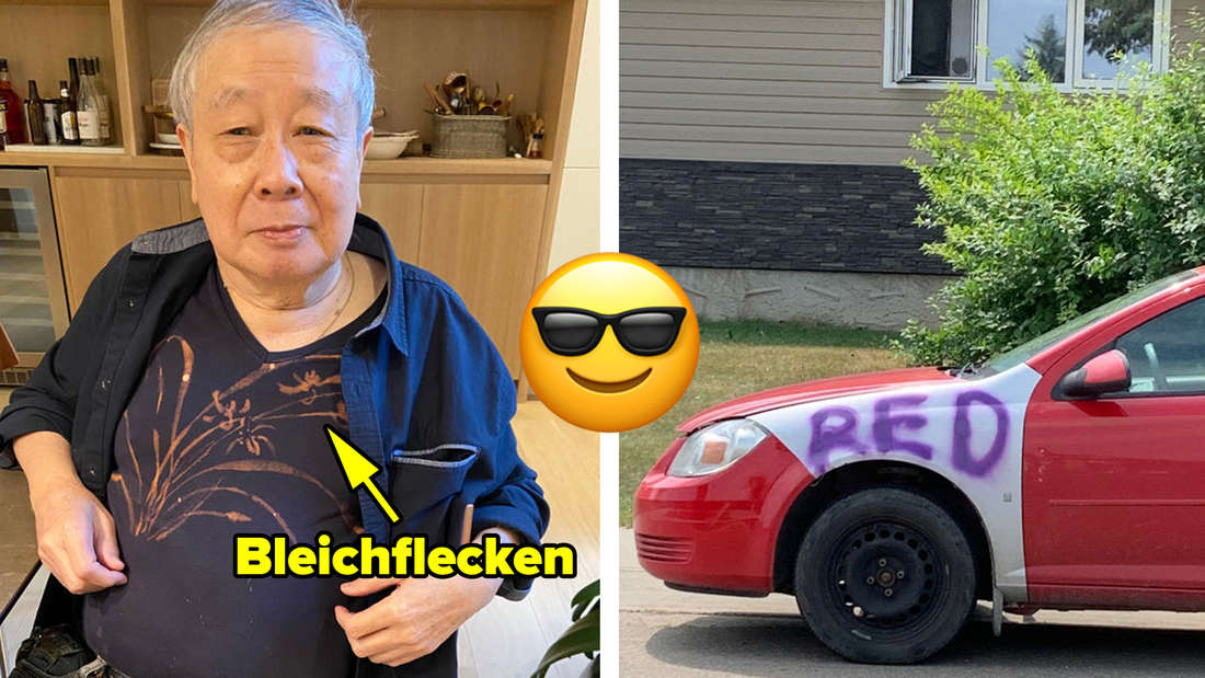 """Ein Vater, der aus Bleichflecken auf seinem Shirt ein schönes Muster gemacht hat und ein rotes Auto, auf dessen weiße Stelle jemand mit lilafarbener Farbe """"RED"""" geschrieben hat. In der Mitte ein grinsendes Emoji, das eine Sonnenbrille trägt."""