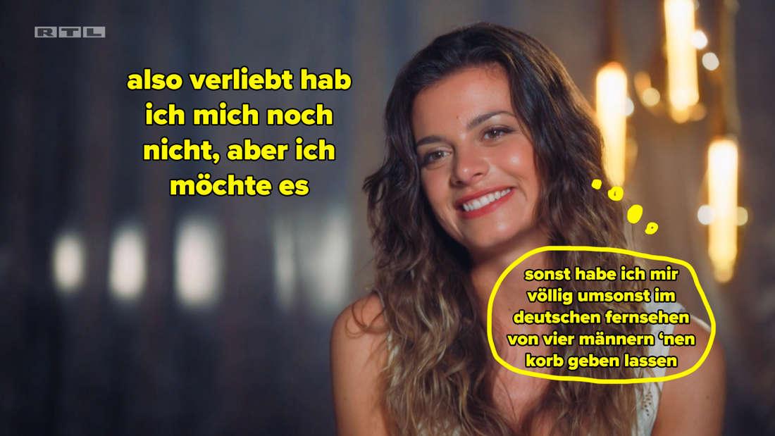 """Maxime sagt der Kamera, sie sei noch nicht verliebt, wolle es aber sein. Dazu eine Denkblase: """"Sonst habe ich mir völlig umsonst im deutschen Fernsehen von vier Männern 'nen Korb geben lassen."""""""