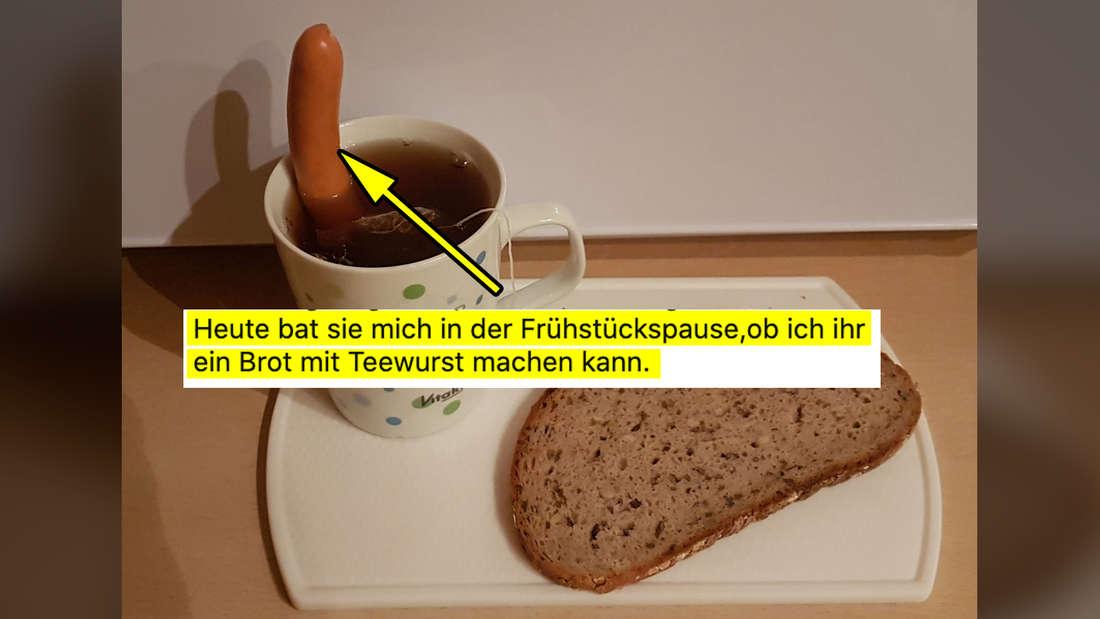 """Ein Bild von einem Brot auf einem Teller, daneben ein Tee, in dem eine Wurst steckt. Darauf ein Tweet von @BremerGoere, der sagt """"Heute bat sie mich in der Frühstückspause, ob ich ihr ein Brot mit Teewurst machen kann."""