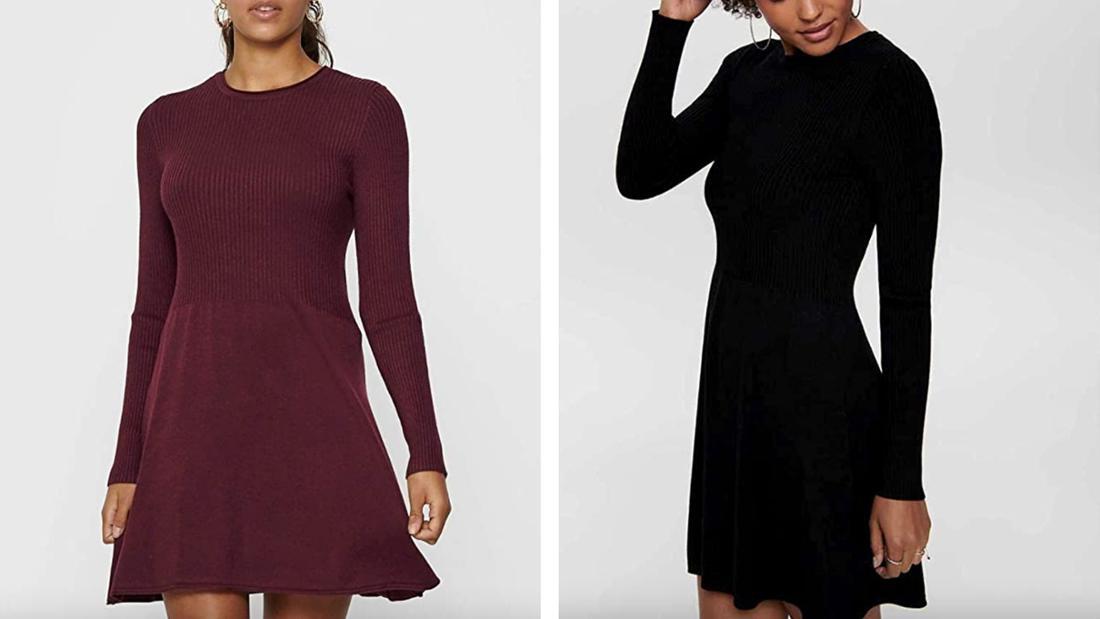 Einmal schwarzes und einmal weinrotes knielanges Kleid mit schlichtem Faltenrock und langen Ärmeln.