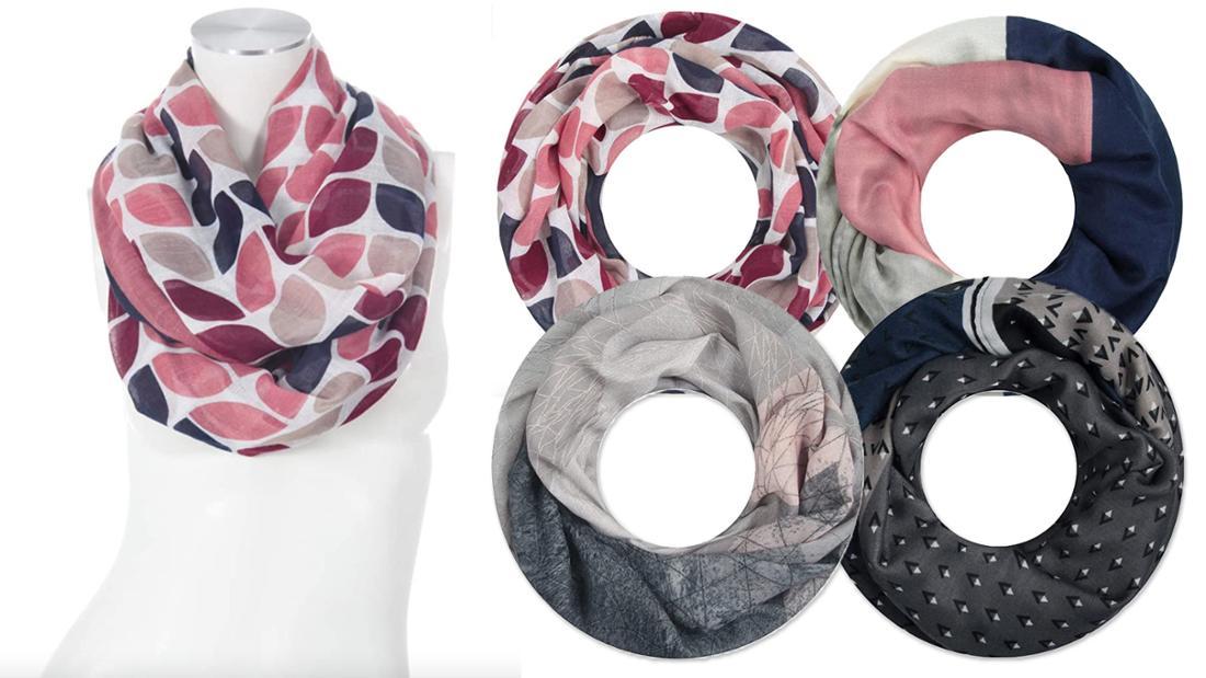 Vier verschiedene Schlauchschals in rosa, grau und blautönen mit geometrischen Mustern.