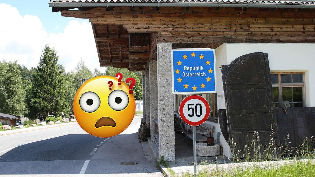 Grenzschild zur Grenze von Österreich mit einem verwirrten Emoji.