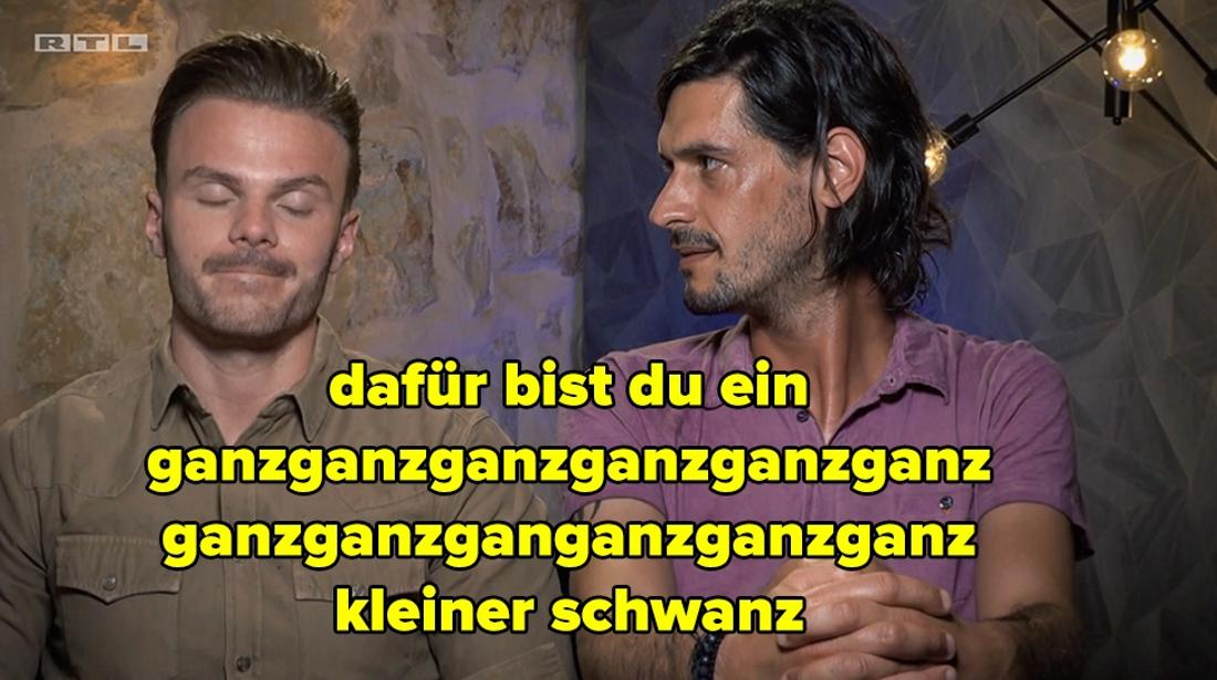 """Harald und Luca aus der sechsten Bachelorette-Staffel hatten sich damals vor der Kamera ziemlich gezofft. Harald hat zu Luca unter anderem gesagt: """"Dafür bist du ein ganzganzganzganzganz kleiner Schwanz."""""""