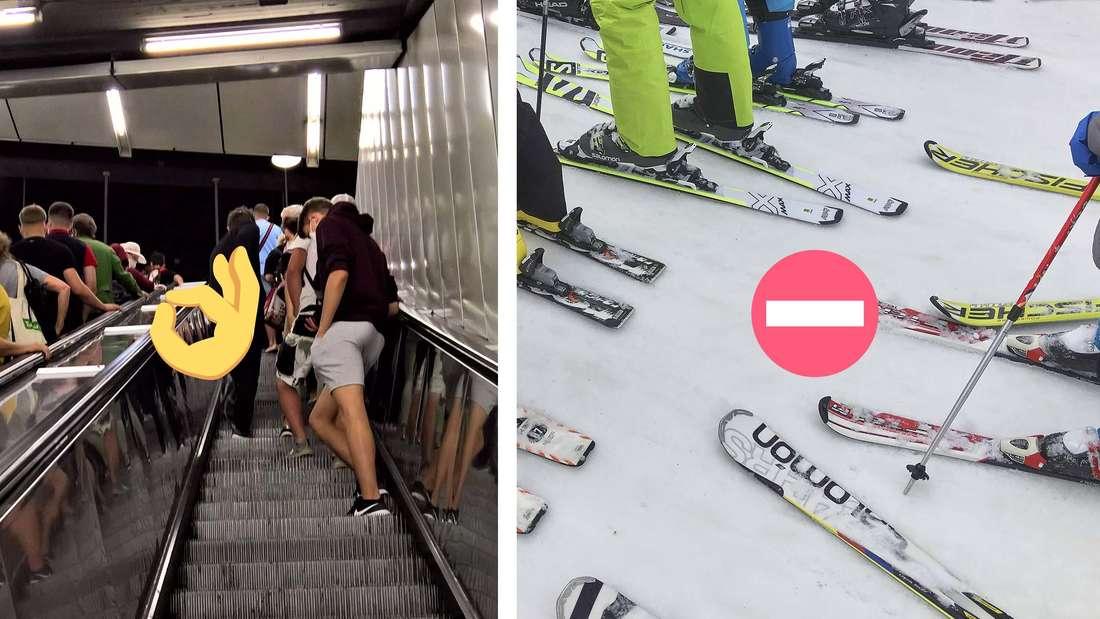 Fotomontage von Menschen auf einer Rolltreppe und SkifahrerInnen auf beim Skilift