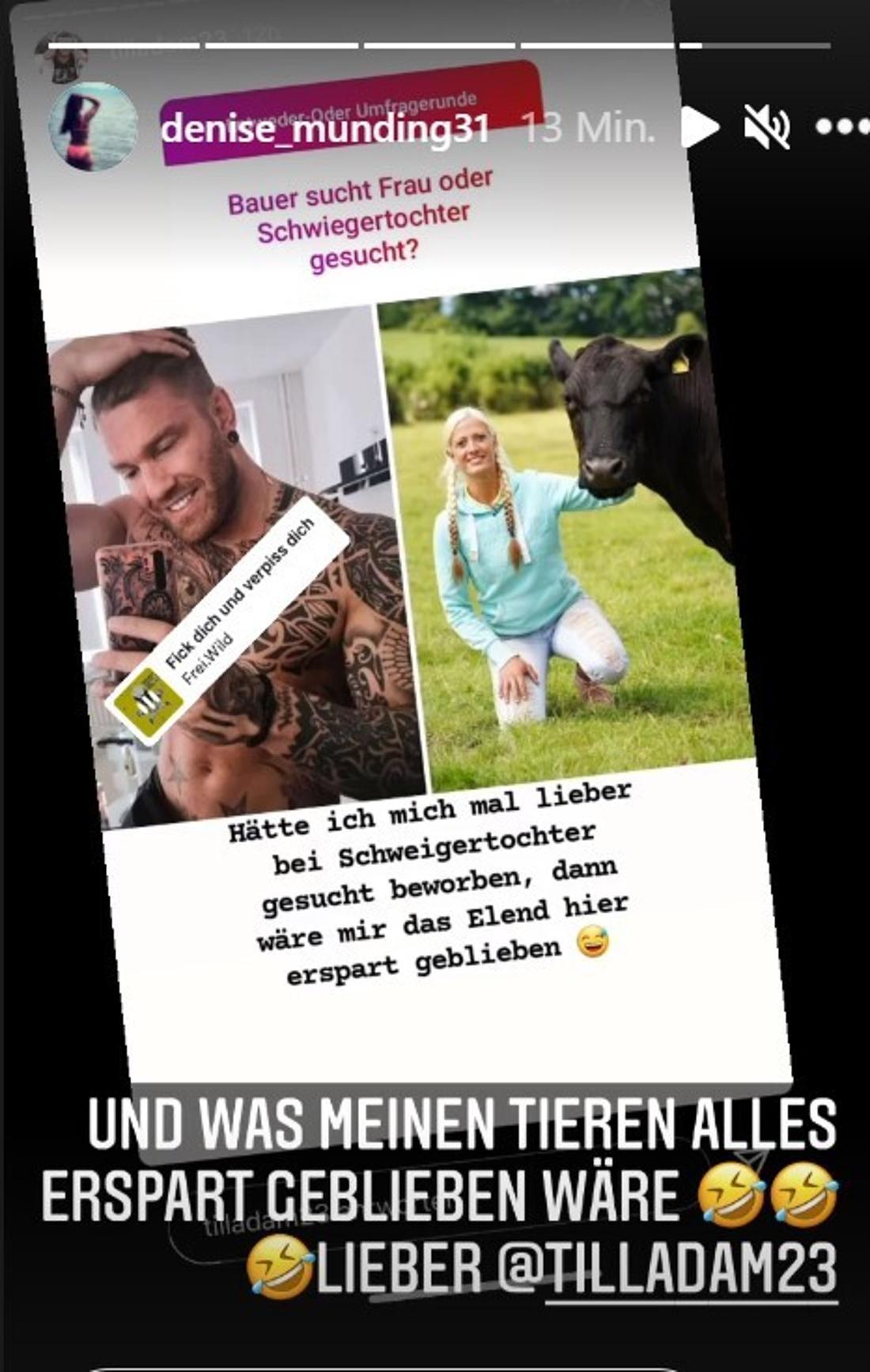 Instagram-Story von Denise Mundig und Till Adam