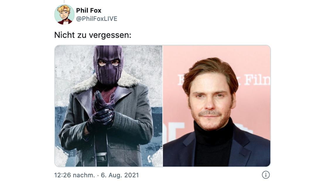 Ein Tweet von @PhilFoxLIVE, der zwei Fotos zeigt: Eins von Baron von Zemo in seinem Kostüm und eins von Daniel Brühl.