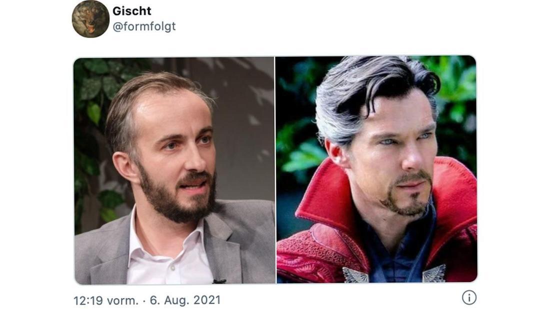 Ein Tweet von @formfolgt, das zwei Fotos zeigt: Eins von Jan Böhmermann und eins von Marvels Dr. Stephen Strange.
