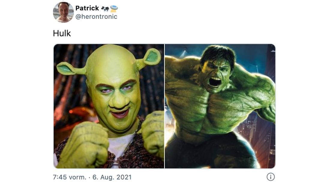 """Ein Tweet von @herontronic, der geschrieben hat """"Hulk"""". Darunter zwei Bilder: Eines von Markus Söder, verkleidet als Shrek und eines von Marvels Hulk."""