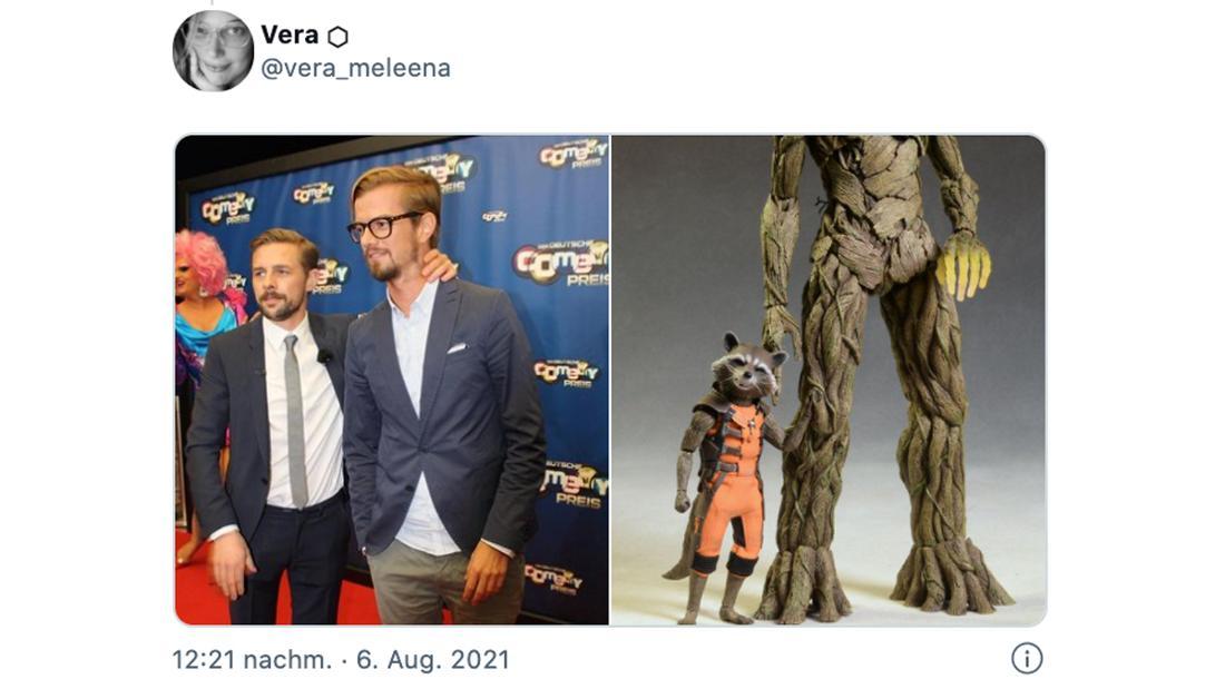 Ein Tweet von @vera_meleena, der zwei Fotos zeigt: Eins von Klaas Heufer-Umlauf und Joko Winterscheidt und eins von Marvels Rocket und Groot.