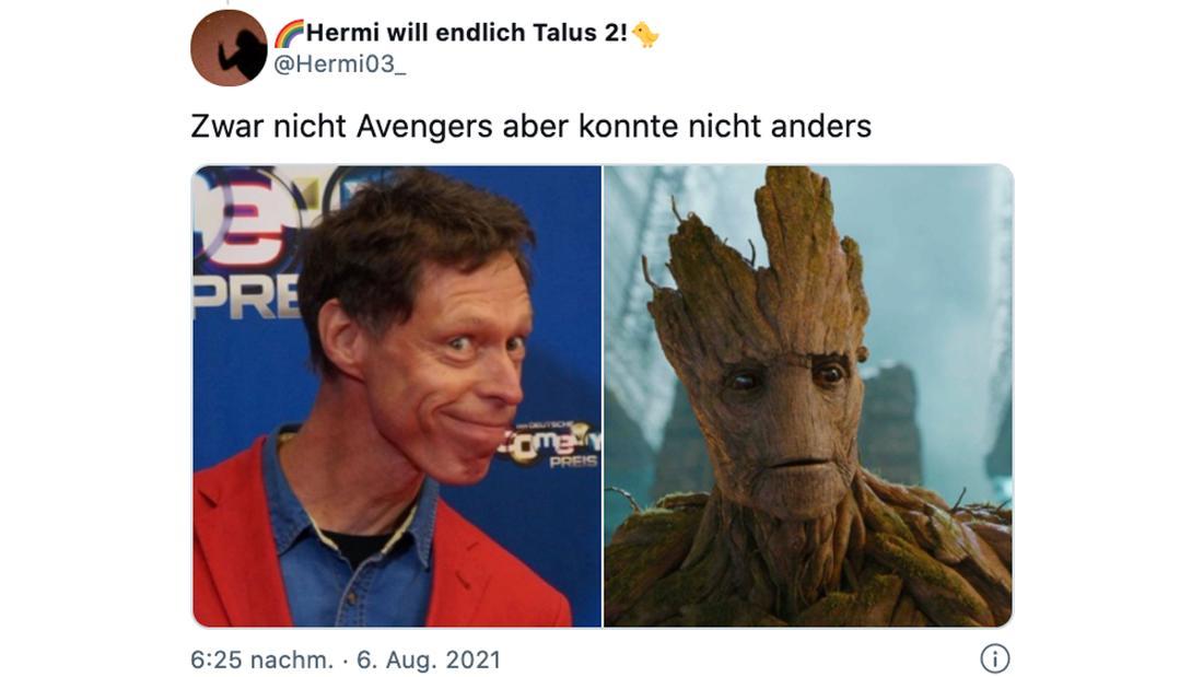 """Ein Tweet von @Hermi03_, der aussagt """"Zwar nicht Avengers aber konnte nicht anders."""" Dazu zwei Bilder: Eins von Martin Schneider und eins von. Marvels Groot."""