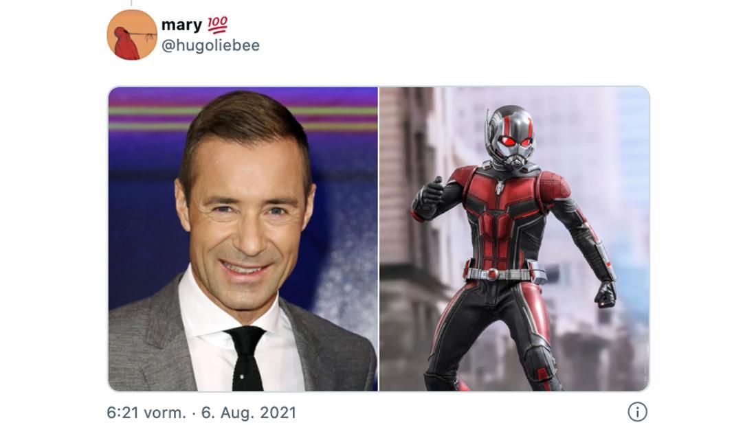 Ein Tweet von @hugoliebee, der zwei Bilder zeigt: Eins von Kai Pflaume und eins von Ant-Man.
