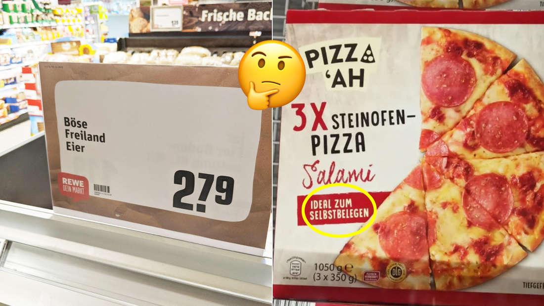 """Ein Schild von Rewe, auf dem """"Böse Freiland-Eier"""" steht und ein Salami-Pizza-Karton, auf dem steht """"Ideal zum Selbstbelegen."""" In der Mitte ein Emoji, das verwirrt aussieht und sich das Kinn reibt."""