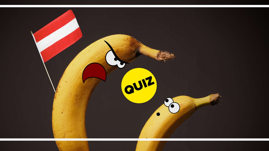 Eine angepisste österreichische Banane schimpft mit der anderen Banane