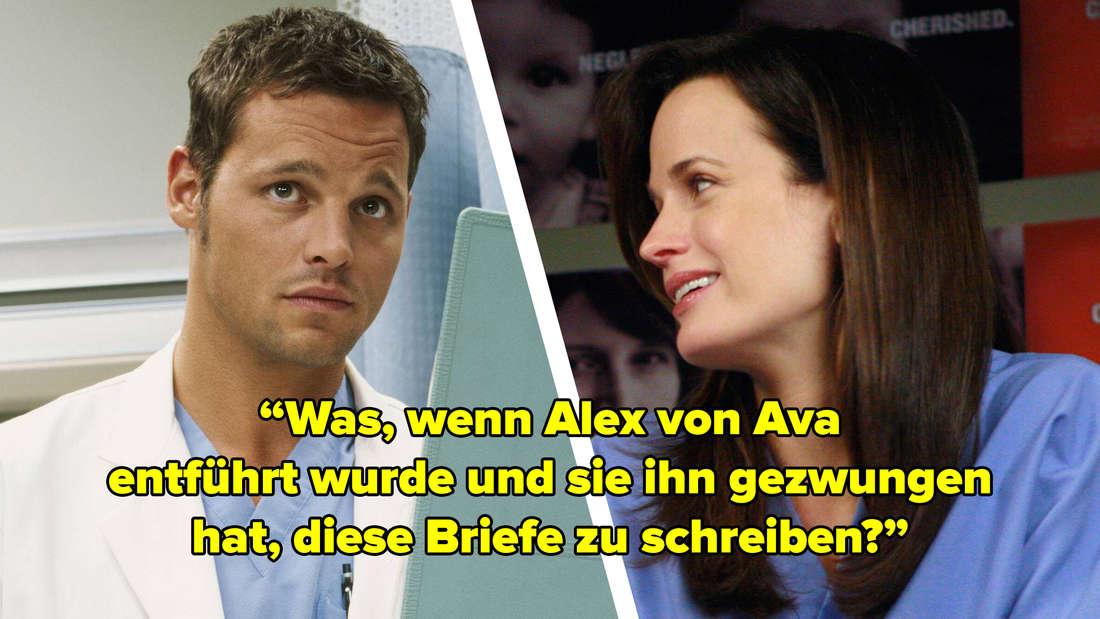 """Alex Karev und Ava in """"Grey's Anatomy"""". Bildtext: """"Was, wenn Alex von Ava entführt wurde und sie ihn gezwungen hat, diese Briefe zu schreiben?"""""""