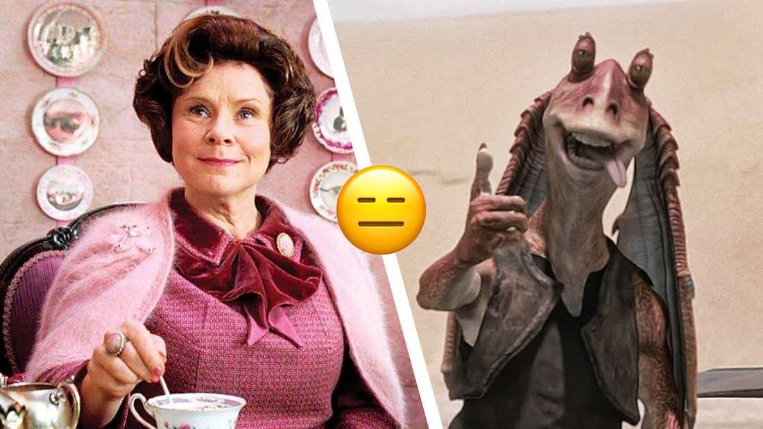 """Dolores Umbridge aus """"Harry Potter und der Orden des Phoenix"""" und Jar Jar Binks aus """"Star Wars Episode I"""""""