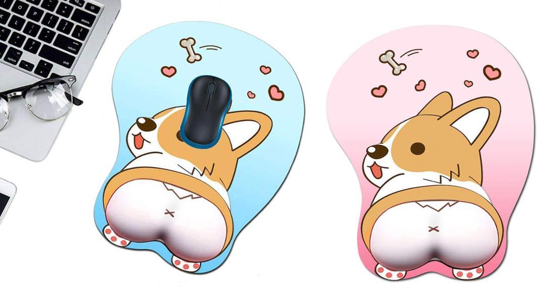 Rosa oder hellblaues, rundes Mausbad mit Herzchen und einem Corgi von hinten, dessen Po in 3D zum Auflegen des Handgelenks dient.