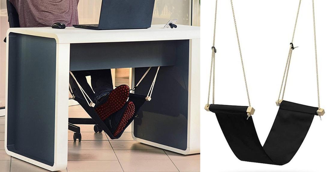 Schwarze Hängematte zum Einhängen unter dem Schreibtisch für die Füße.