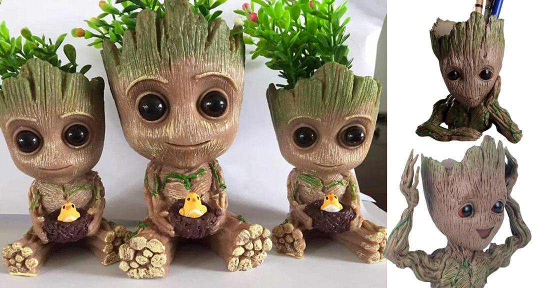 Baby Groot in verschiedenen Varianten als Blumentopf oder Stifthalter.